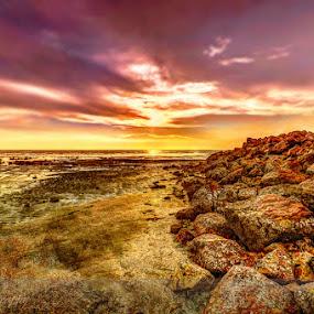 Pile of rocks at Pantai Jeram by Edwin Ng - Landscapes Sunsets & Sunrises ( pantai, set, sea, rocks, sun, jeram )