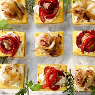 Polenta And Veggie Bites With Honeyed Cheese.