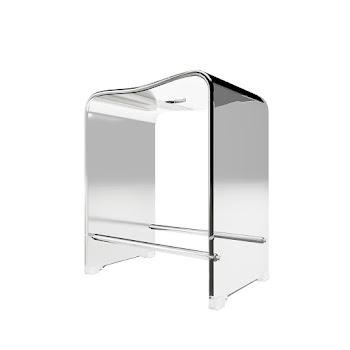Tabouret de douche, acrylique transparent, 39 x 27 x 47 cm