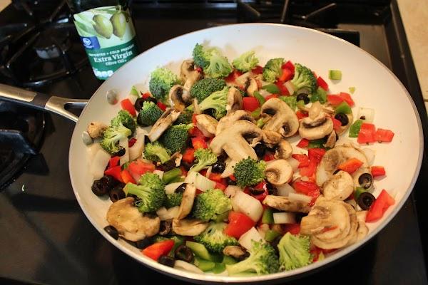 Sauté veggies until soft in olive oil.