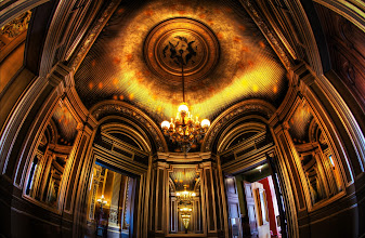 Photo: A fantastical ceiling... reminds me of Myst... but in real life, inside the Paris Opera.