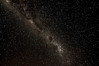 Photo: Wide-field image of the Crux region of the Milky Way. Crux and the Coal Sack are near the centre. 3 x 25 Seconds f3.5 ISO 2500 10mm, camera static on tripod. Taken from the Macarthur Astronomical Society dark sky site at The Oaks, NSW, Australia.