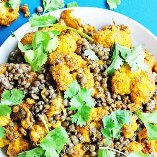 Roasted Masala Cauliflower With Coconut Lentils.