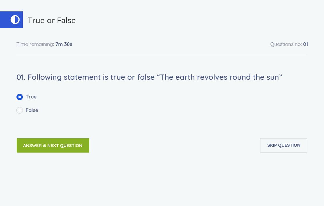 Tutor LMS true or false question pattern