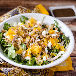 Chicken Arugula Salad with Oranges and Goat Cheese.