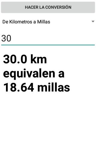 Conversor de Millas a Kilometros screenshot 1
