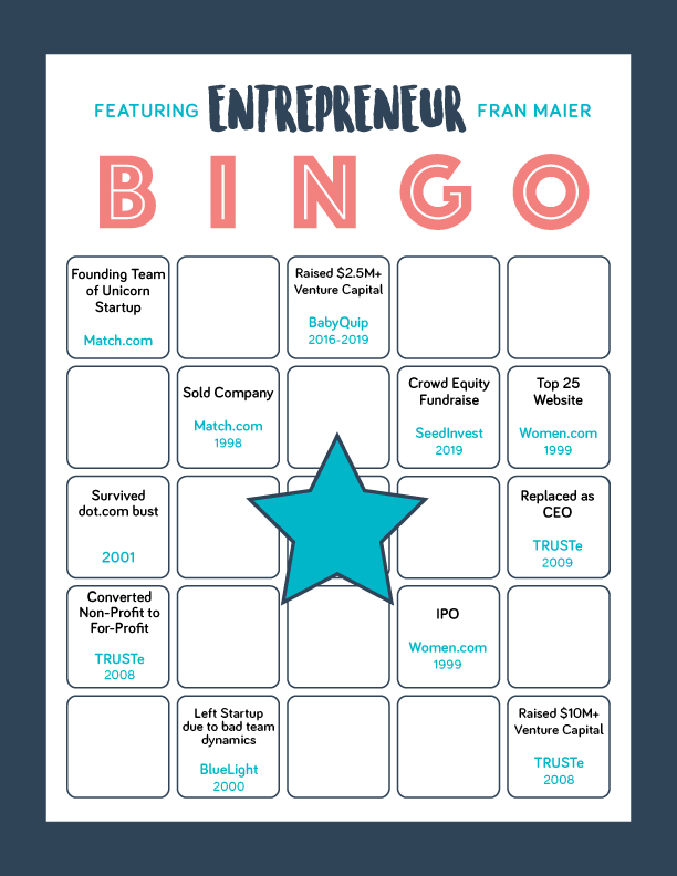 Professional bingo card including SeedInvest