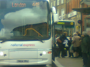 Photo: 10am is a flurry of activity on the market, with several buses lining up to interchange passengers. Here the daily London coach (back at 7pm) competes with the Boston and Louth charabancs.
