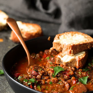 Soupy Spanish Lentils with Chorizo and Manchego Toast Recipe