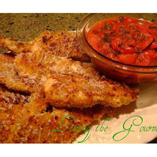 Baked Chicken Strips & Salsa Sauce.