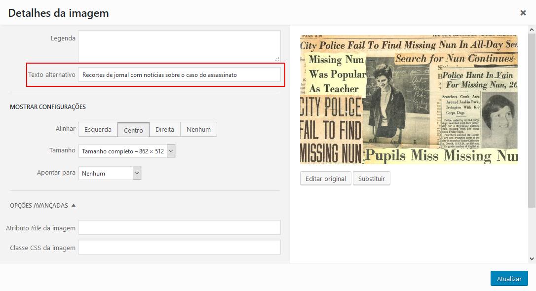Buscas do Google - Local onde se é modificado a tag alt no WordPress (editor antigo)