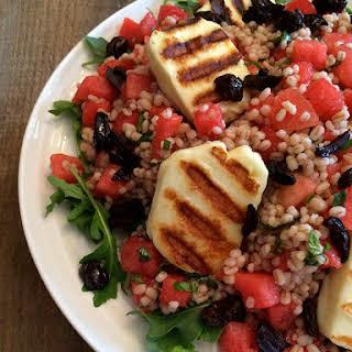 Watermelon and Grilled Halloumi Barley Salad.