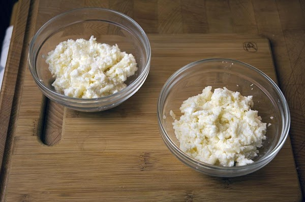 Divide the cheese mixture into two equal halves.
