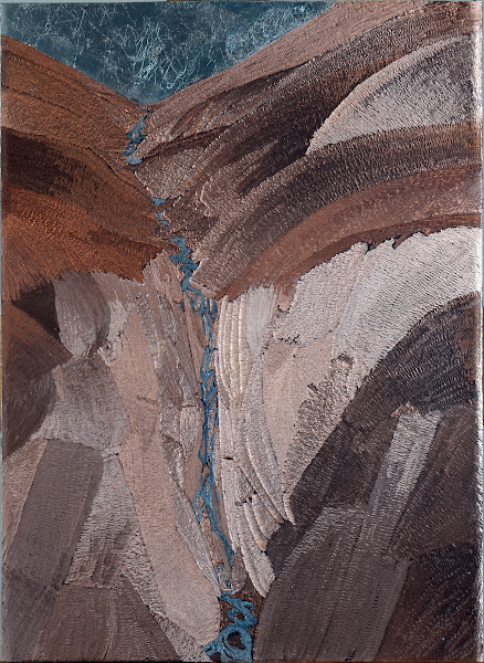 "Photo: Waterfall carved copper with metal foil and alkyd paint 9"" x 15"" unfinished"