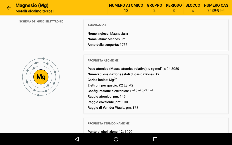 Tavola periodica app android su google play - Tavola periodica dei metalli ...