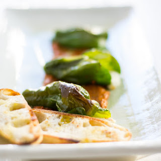Queso Stuffed Padron Peppers Over Romesco #AppetizerWeek.