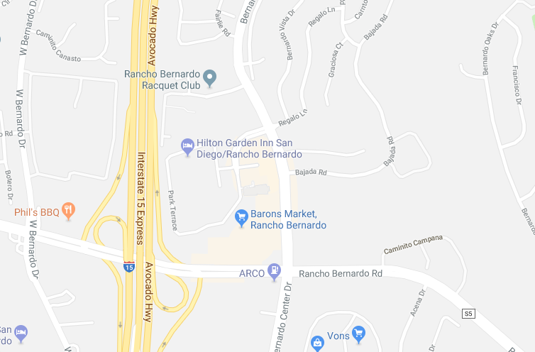Map of Hilton Garden Inn Rancho Bernardo