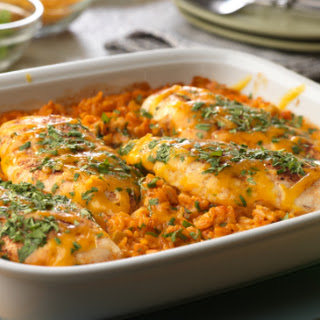 Cheesy Salsa Baked Chicken and Rice.