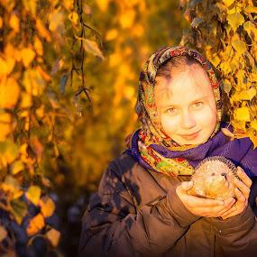 Last moments og autumn.. by Inna Fangel - Babies & Children Child Portraits ( love, girl, autumn, family, sunset, beautiful, pretty, portrait )