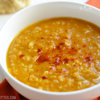 Curried Red Lentil and Pumpkin Soup.