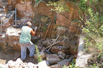 Photo: The quarrying of pipestone is often an underappreciated part of the tradition surrounding pipemaking. The task of extracting pipestone from the earth is a slow and labor intensive process and the hand tools used today are not much more advanced than the tools and methods used in centuries past. (No power tools are permitted.)