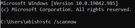 The System File Checker scan command
