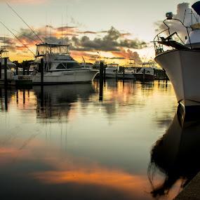 Mississippi Morning by David Kreutzer - Transportation Boats ( biloxi, sport fishing, harbor, boats, pier, sunrise, boat, mississippi )