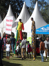 Photo: Guys on stilts at the Taste of Addis festival