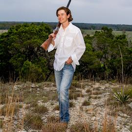 Country Roads Senior Portrait by Matthew Chambers - People Portraits of Men ( gun, country, remington, teen, boy, jeans, america, fit, shotgun, shirt, white, man, rifle )