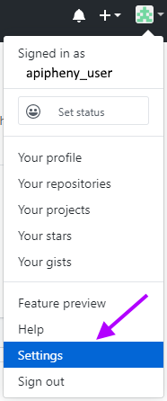 Click Settings in Github