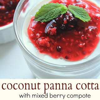 Coconut Panna Cotta with Mixed Berry Compote {Paleo, Dairy Free, & Sugar Free}.