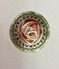 """Photo: Plique-à-Jour Enamel Button - Mackintosh Rose - Fine Silver, Plique-a-Jour Transparent, semi-opaque, and opalescent enamels - approximately 1 3/8"""" diameter - $325.00 US"""