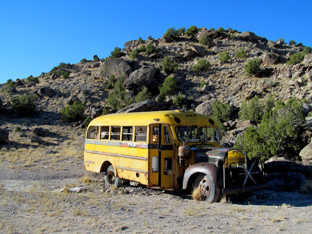 Abandoned school bus turned camper near Buckhorn Wash