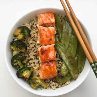 Sweet And Sour Salmon With Quinoa Salad.
