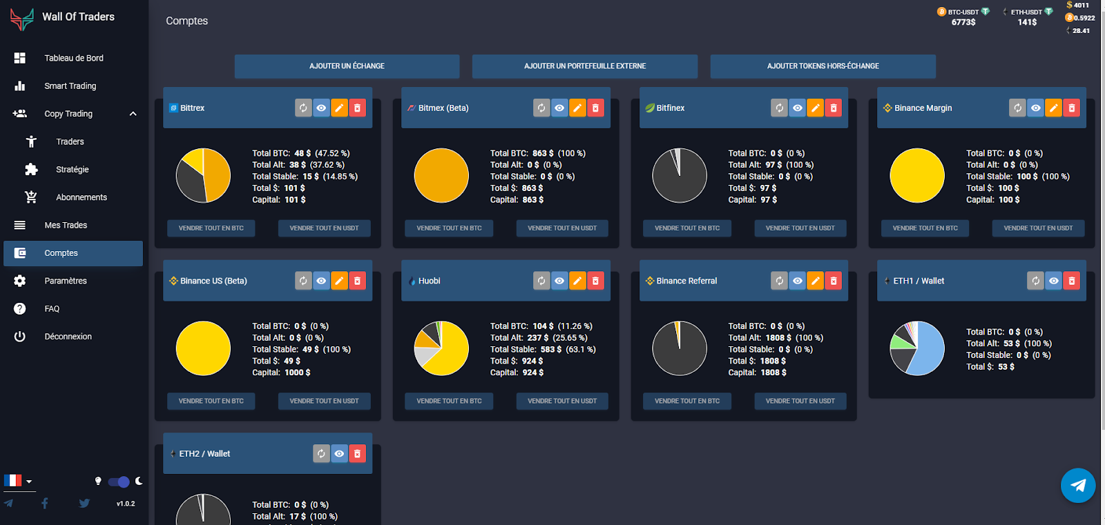 visualisation des comptes de crypto trading (échanges, portefeuilles, tokens, coins)