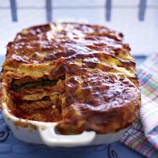 Lactose-free Salmon and Swiss Chard Lasagne.