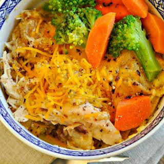 Cheesy Zesty Crockpot Chicken and Rice.