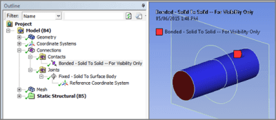 ANSYS Задание контактной пары с контактными и целевыми элементами на поверхности недеформируемого тела с целью вывода распределений при постпроцессинге