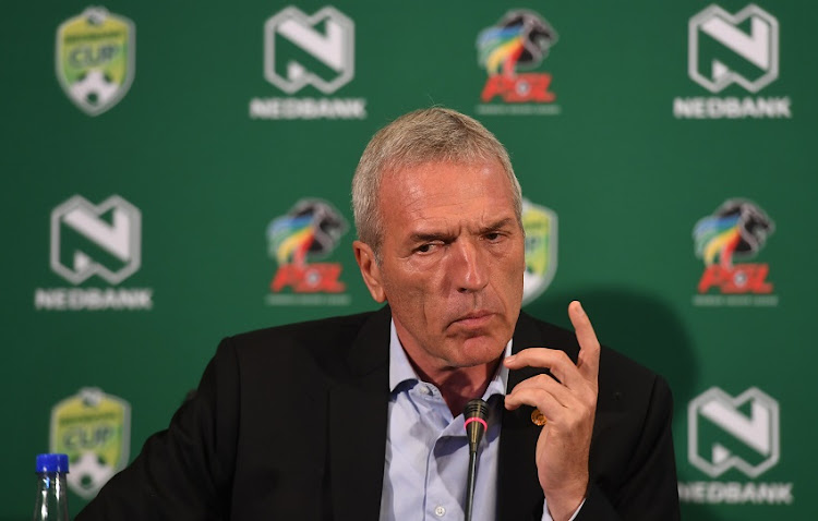 Kaizer Chiefs coach Ernst Middendorp during the Kaizer Chiefs Press Conference at PSL Offices on February 14, 2019 in Johannesburg, South Africa.