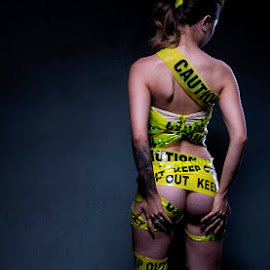 Keep Out by Mel Stratton - Nudes & Boudoir Artistic Nude ( yellow tape, keep out, caution, bum, tape, yellow,  )