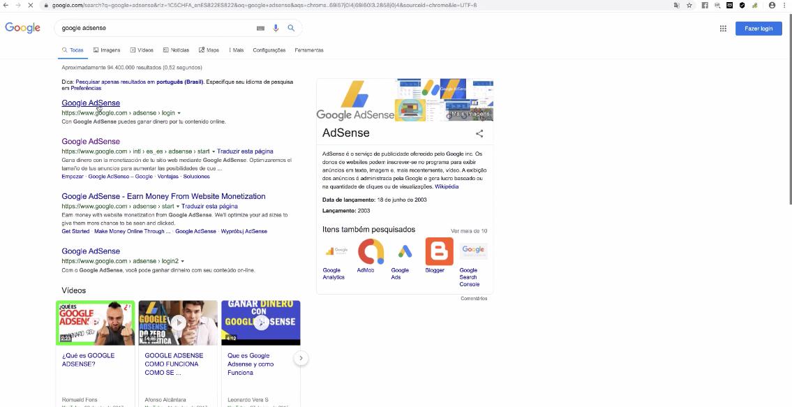 pesquisa de google adsense