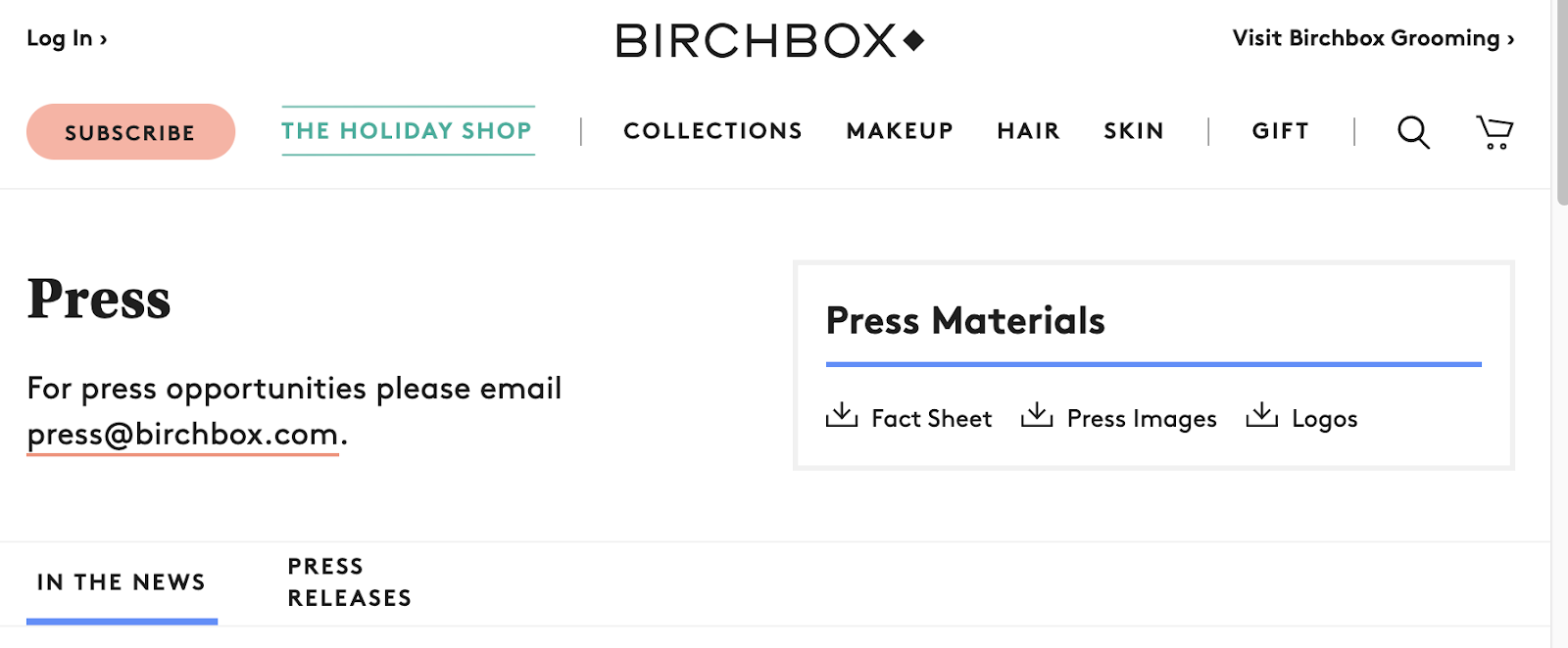 birchbox's media kit homepage