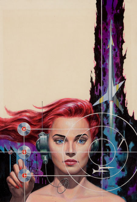 "Photo: Edmund (Emsh) Emshwiller Women's Work, Original Science Fiction Stories digest cover, November 1956 Gouache and tempera on board 17.5"" x 12"" http://fineart.ha.com/c/item.zx?saleNo=5087&lotNo=78018"