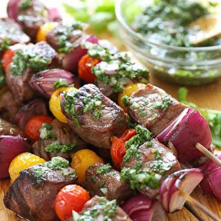 Steak Kebabs with Chimichurri.