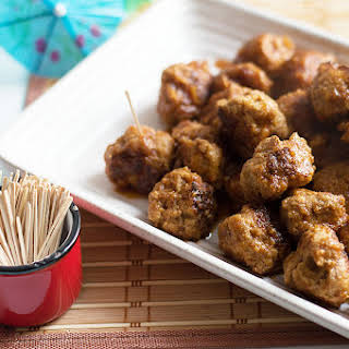 Hawaiian Meatballs with Pineapple BBQ Sauce.