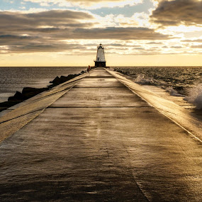 Jetty Sunset - Wide by Greg Croasdill - Buildings & Architecture Bridges & Suspended Structures ( stormy, clouds, ludington, lake michigan, sunset, lighthouse,  )