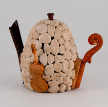 "Photo: Ed Karch - 5"" x 6"" 'stoneware' teapot [cherry] view 2"