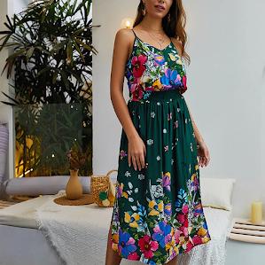 vintage summer dresses dengan motif floral yang cocok dipadukan dengan blazer