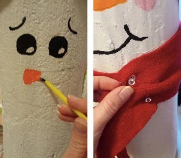 Take your acrylic paint and paint the eyes, mouth and buttons black, and the...
