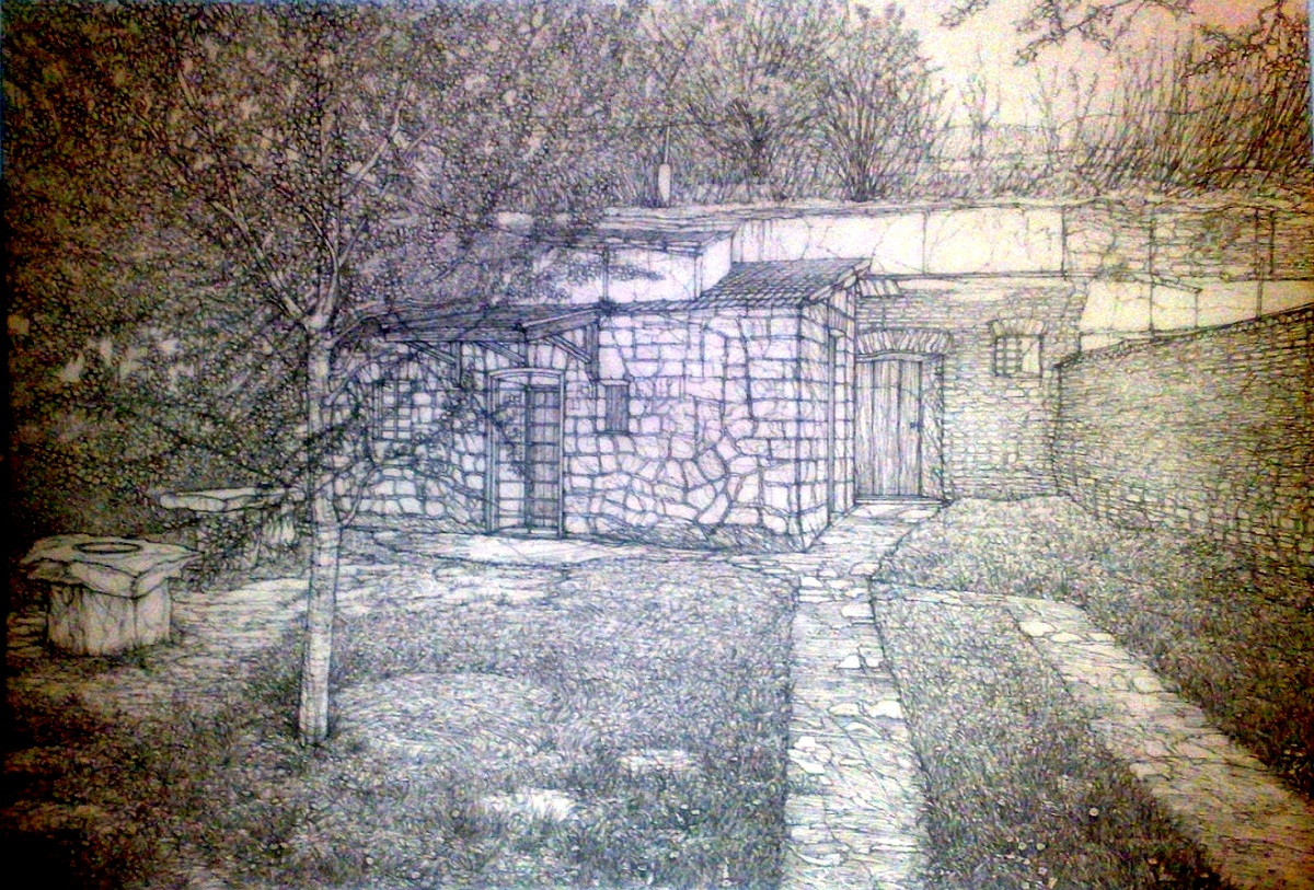 DETAIL YARD AND WINE CELLAR, SZOMOLYA VILLAGE - Sketch (Ink).jpg